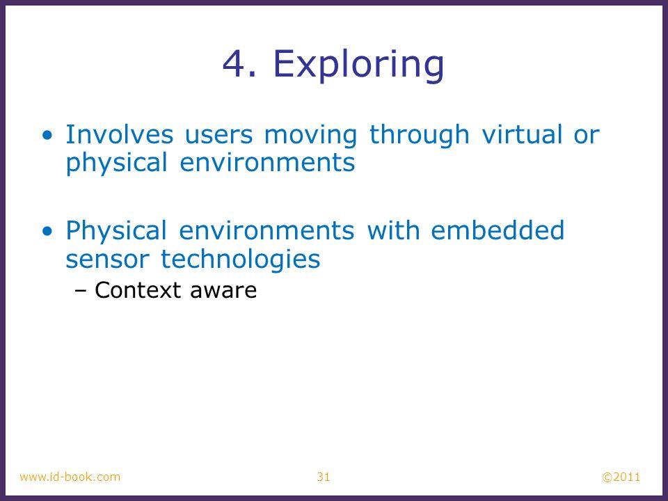 4. Exploring Involves users moving through virtual or physical environments. Physical environments with embedded sensor technologies.