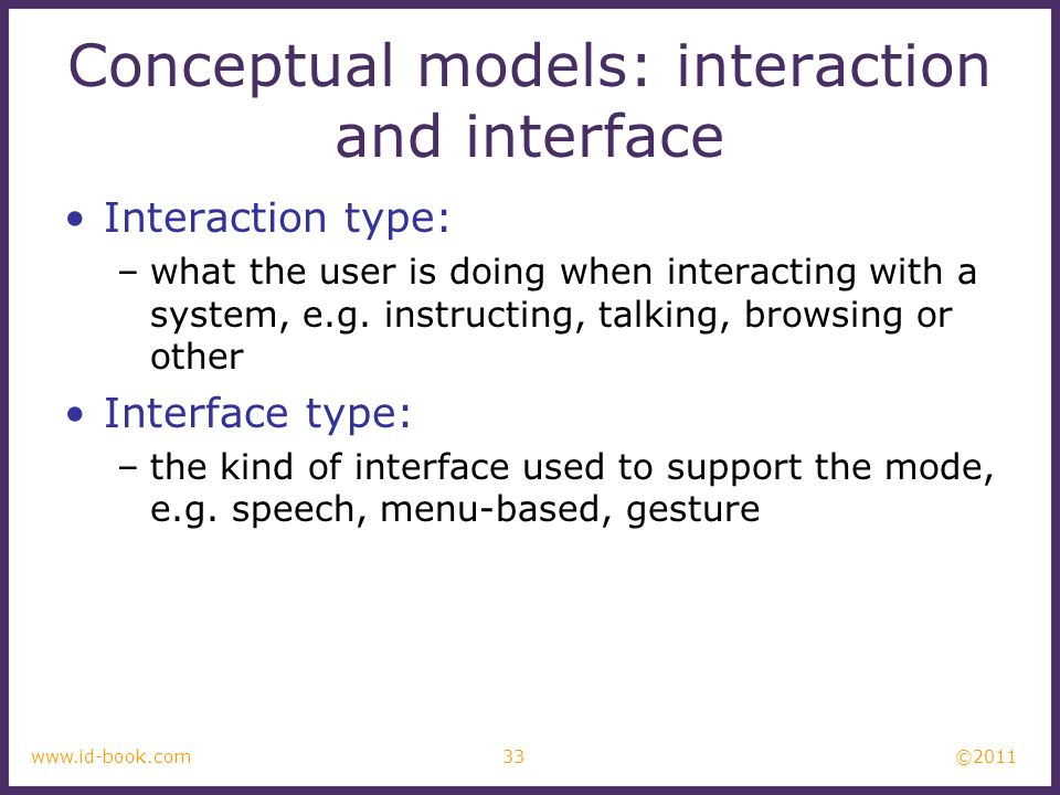 Conceptual models: interaction and interface