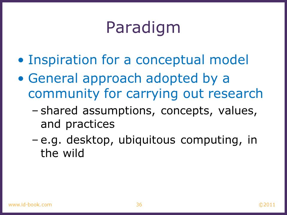 Paradigm Inspiration for a conceptual model