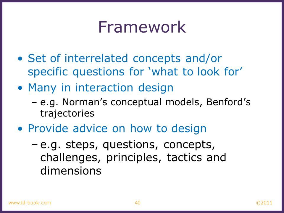 Framework Set of interrelated concepts and/or specific questions for 'what to look for' Many in interaction design.