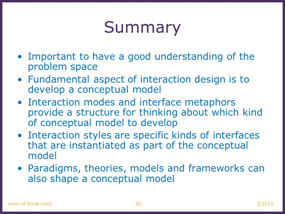 Summary Important to have a good understanding of the problem space