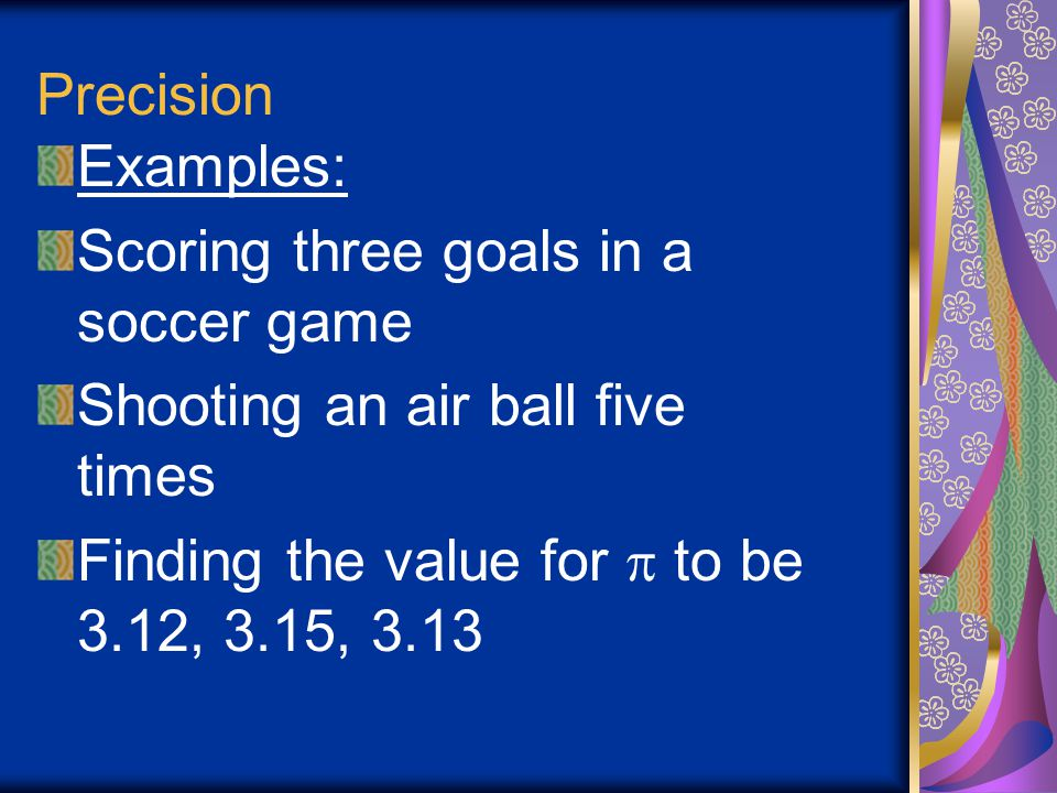 Precision Examples: Scoring three goals in a soccer game.