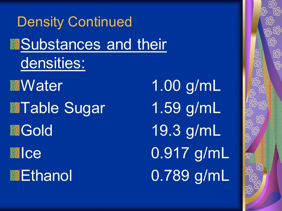 Substances and their densities: Water 1.00 g/mL Table Sugar 1.59 g/mL