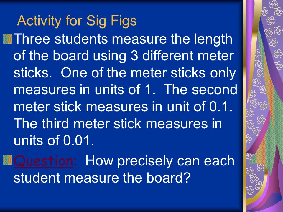 Activity for Sig Figs