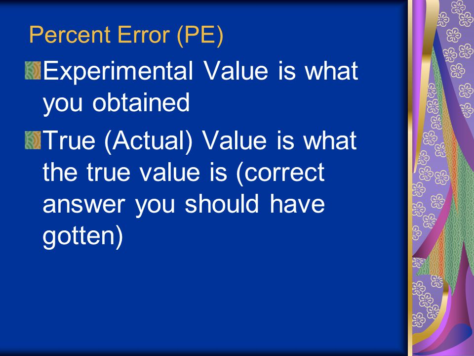 Experimental Value is what you obtained