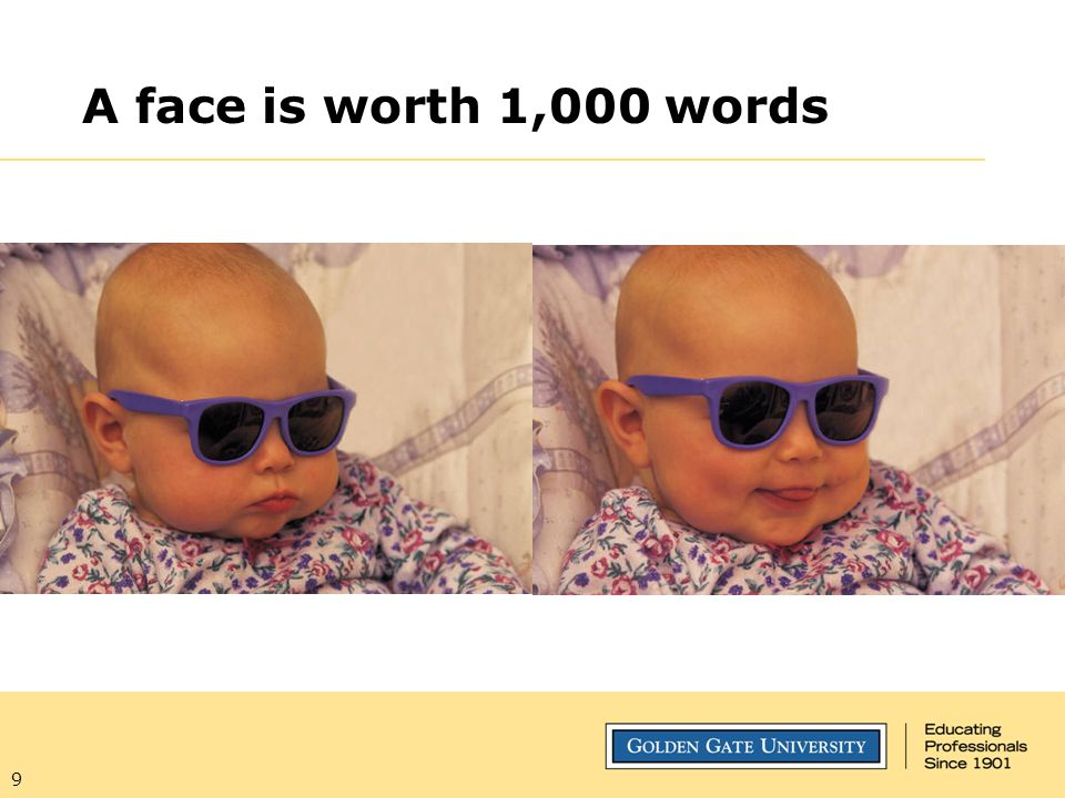 A face is worth 1,000 words Learned very early, as you can see, message-sending is one of its most important functions of the human face.