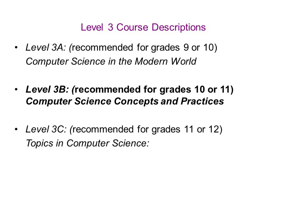 Level 3 Course Descriptions