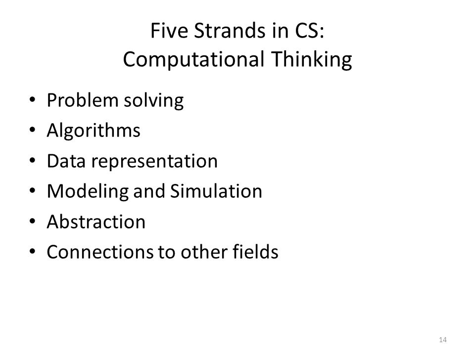 Five Strands in CS: Computational Thinking