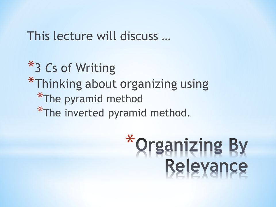 Organizing By Relevance