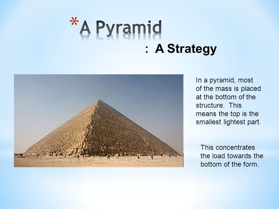 A Pyramid : A Strategy In a pyramid, most of the mass is placed