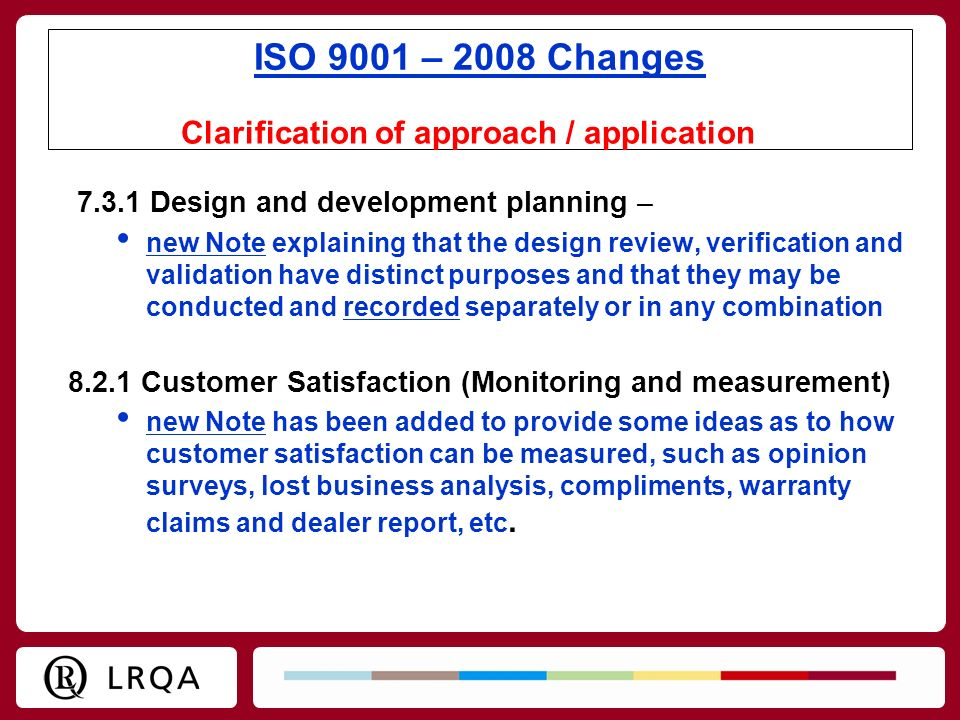 Clarification of approach / application