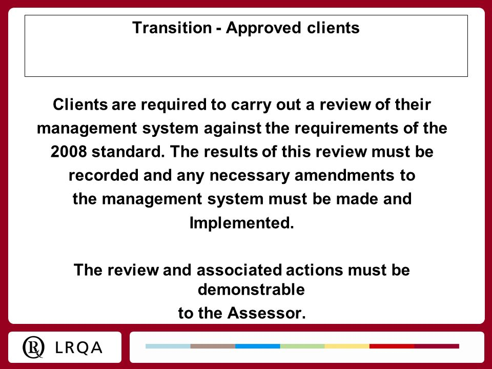 Transition - Approved clients
