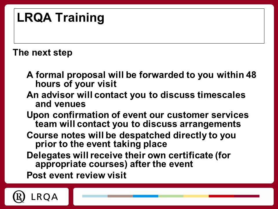 LRQA Training The next step