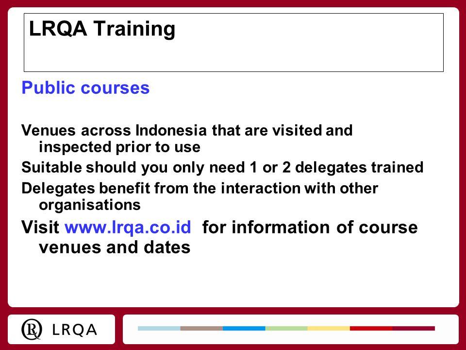 LRQA Training Public courses