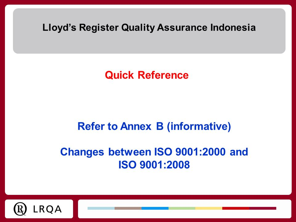 Refer to Annex B (informative) Changes between ISO 9001:2000 and
