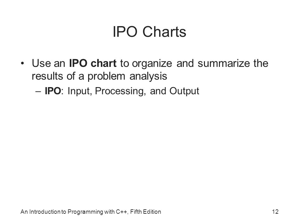 IPO Charts Use an IPO chart to organize and summarize the results of a problem analysis. IPO: Input, Processing, and Output.