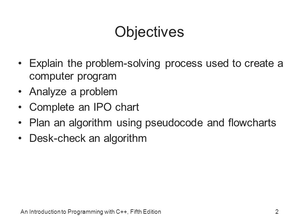 Objectives Explain the problem-solving process used to create a computer program. Analyze a problem.