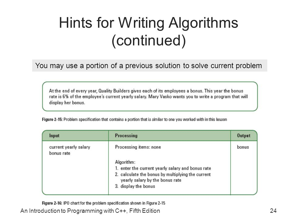 Hints for Writing Algorithms (continued)