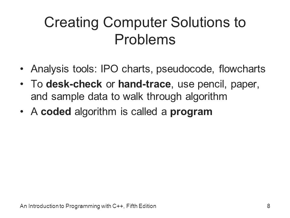 Creating Computer Solutions to Problems