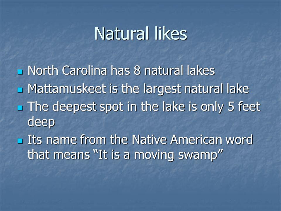 Natural likes North Carolina has 8 natural lakes