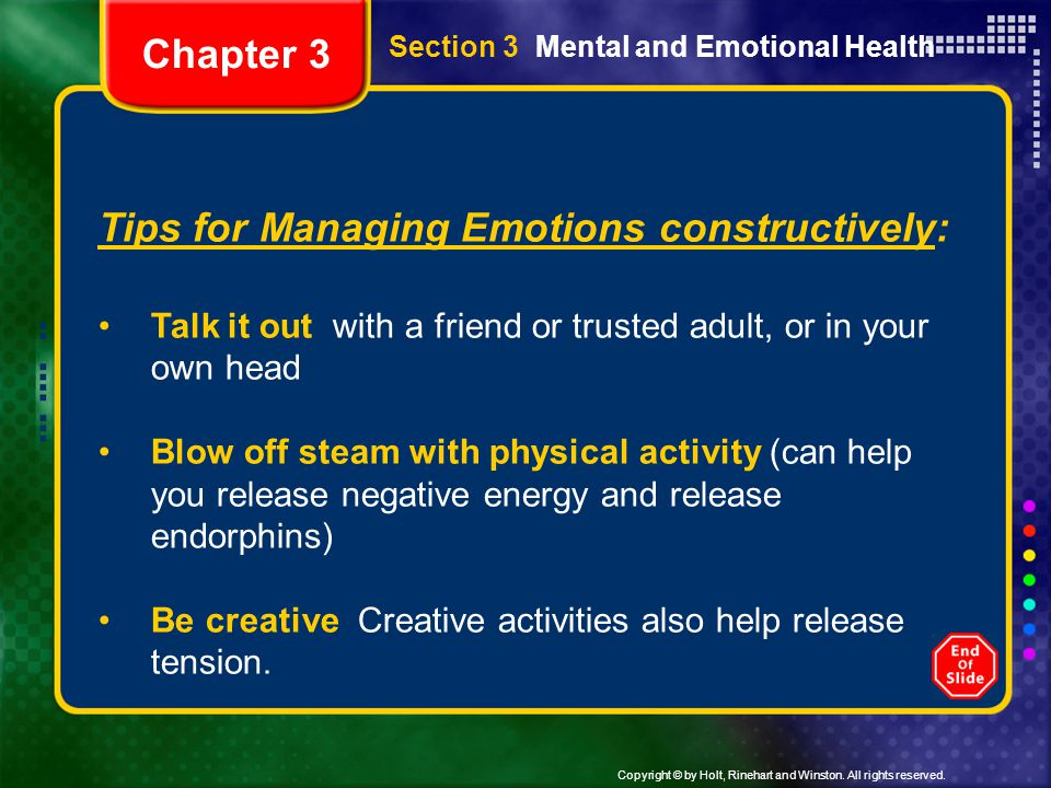 Tips for Managing Emotions constructively:
