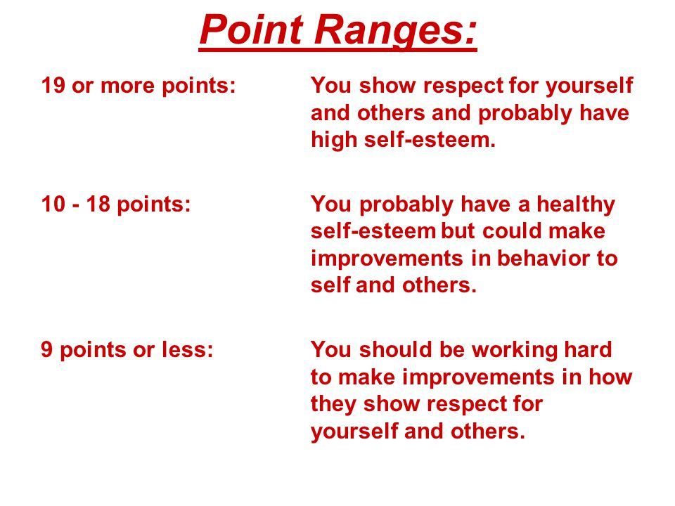 Point Ranges: Chapter 3. 19 or more points: You show respect for yourself and others and probably have high self-esteem.