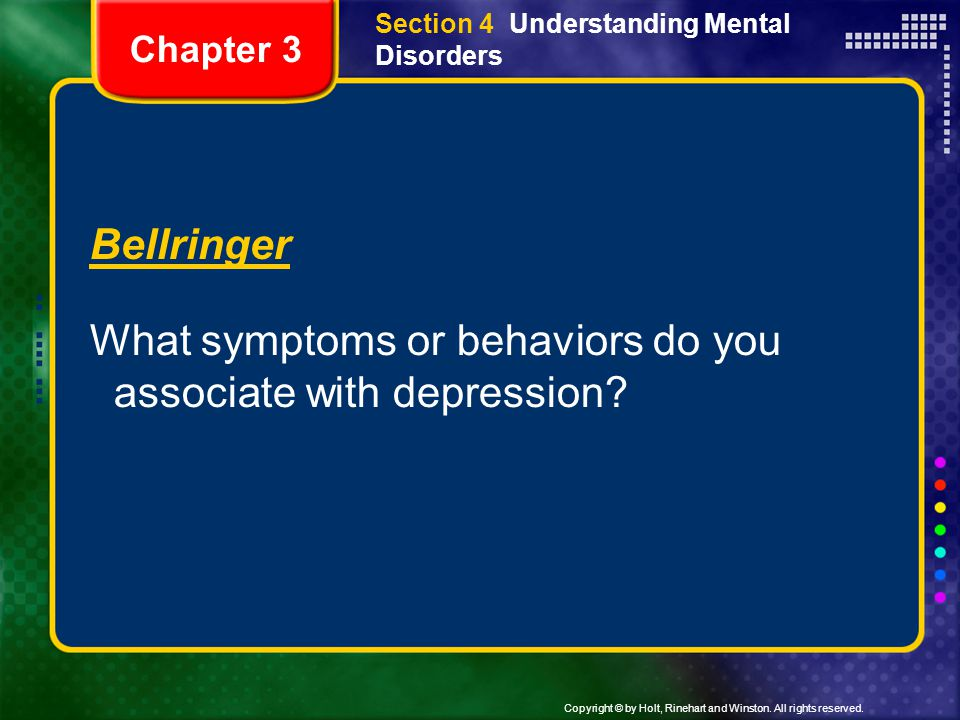 What symptoms or behaviors do you associate with depression