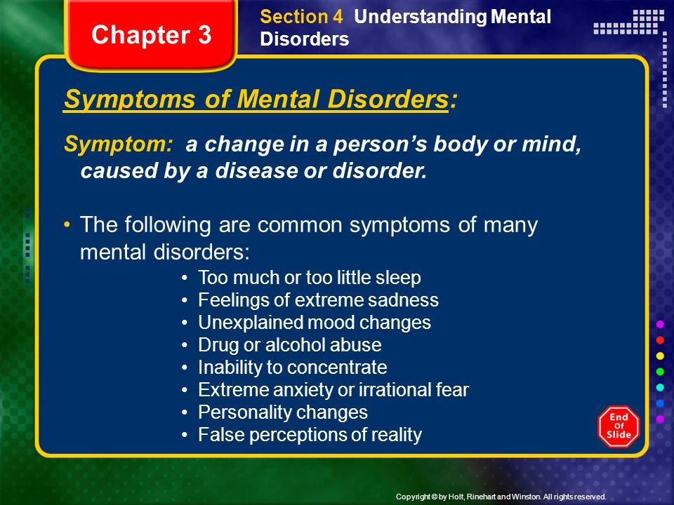 Symptoms of Mental Disorders: