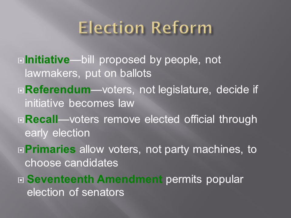 Election Reform Initiative—bill proposed by people, not lawmakers, put on ballots.