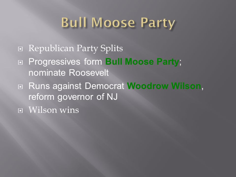 Bull Moose Party Republican Party Splits