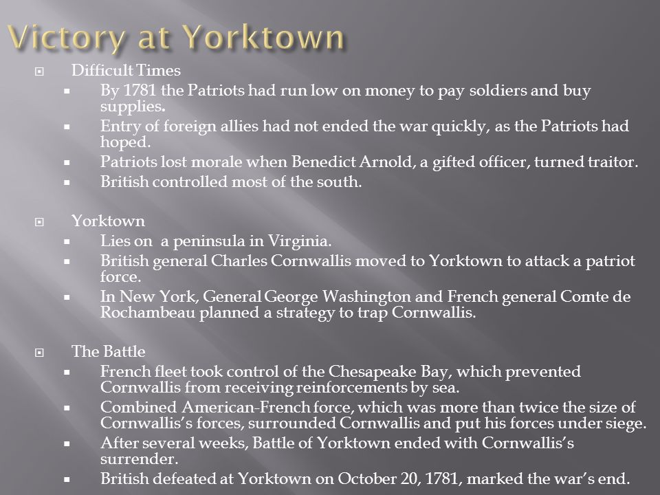 Victory at Yorktown Difficult Times