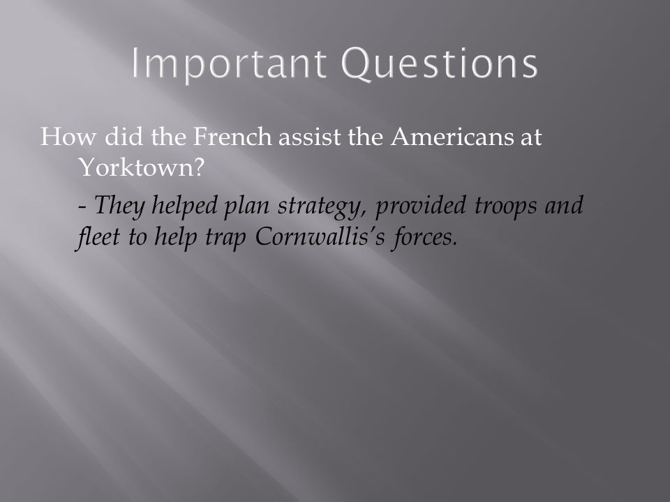 Important Questions How did the French assist the Americans at Yorktown