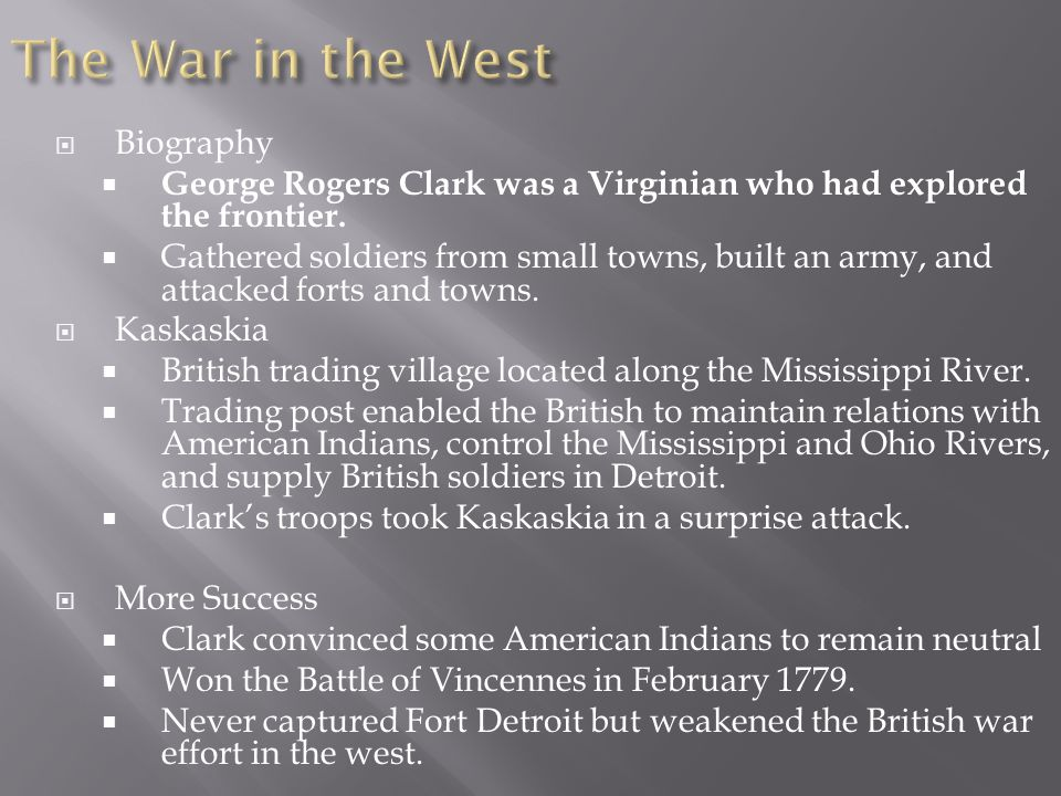 The War in the West Biography