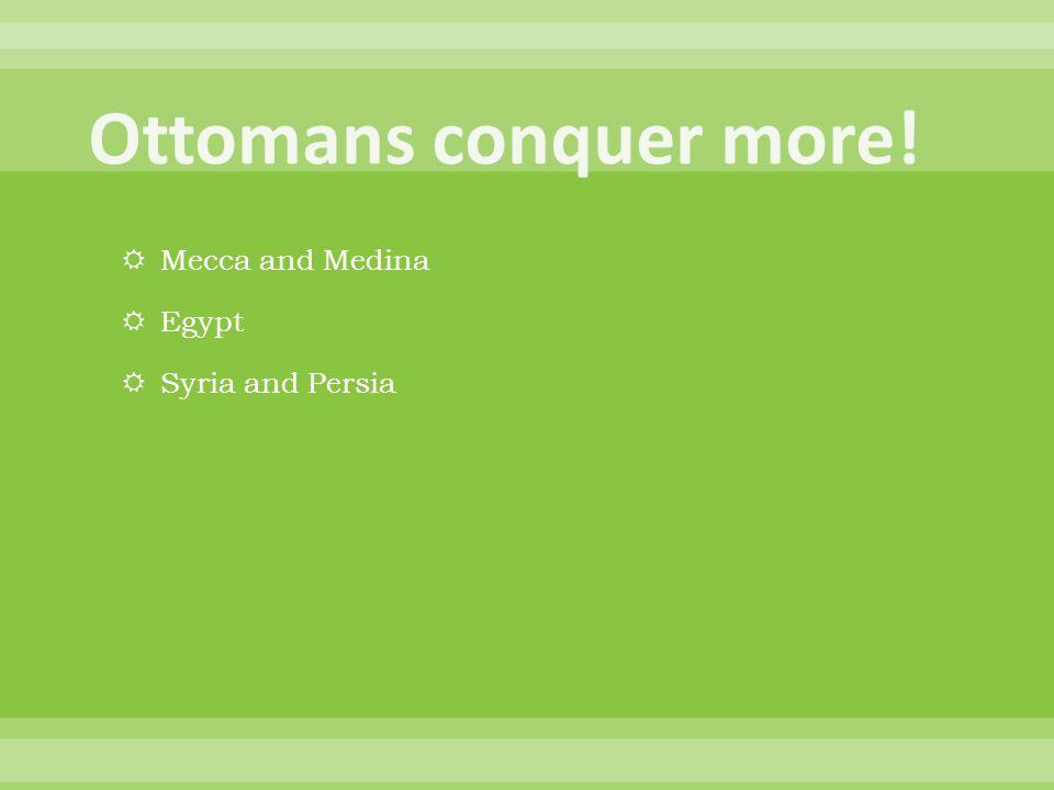 Ottomans conquer more! Mecca and Medina Egypt Syria and Persia