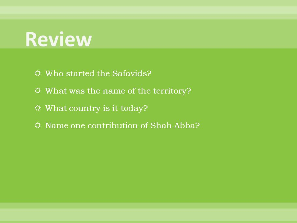 Review Who started the Safavids What was the name of the territory