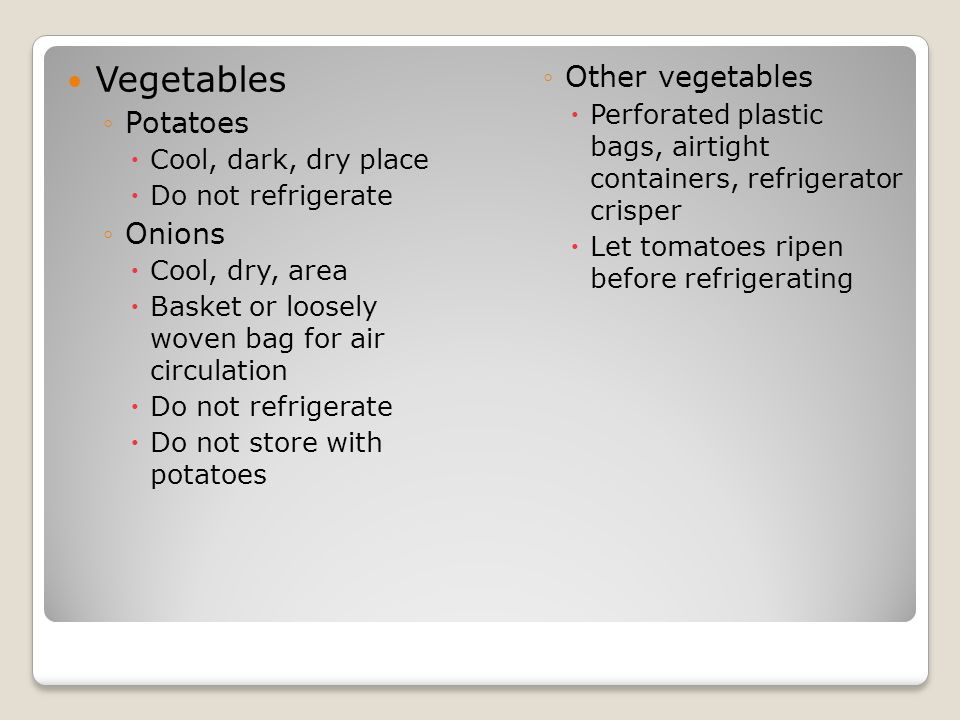 Vegetables Other vegetables Potatoes Onions