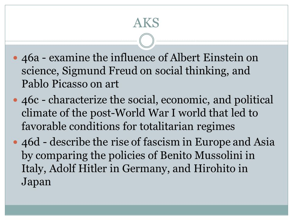 AKS 46a - examine the influence of Albert Einstein on science, Sigmund Freud on social thinking, and Pablo Picasso on art.