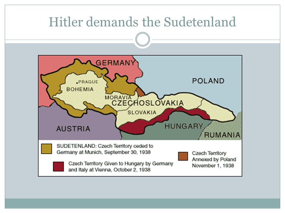 Hitler demands the Sudetenland