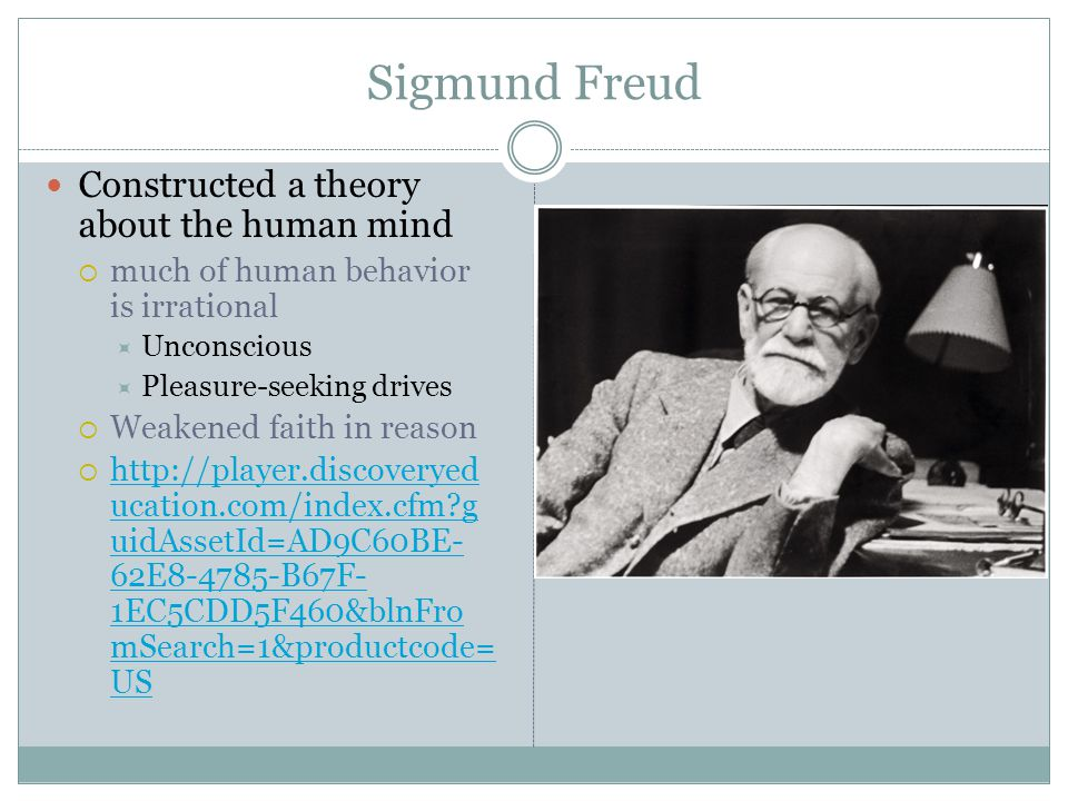 Sigmund Freud Constructed a theory about the human mind