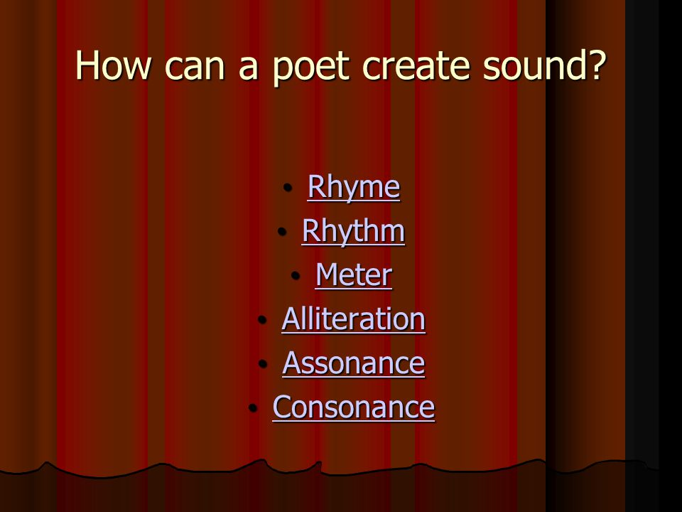 How can a poet create sound