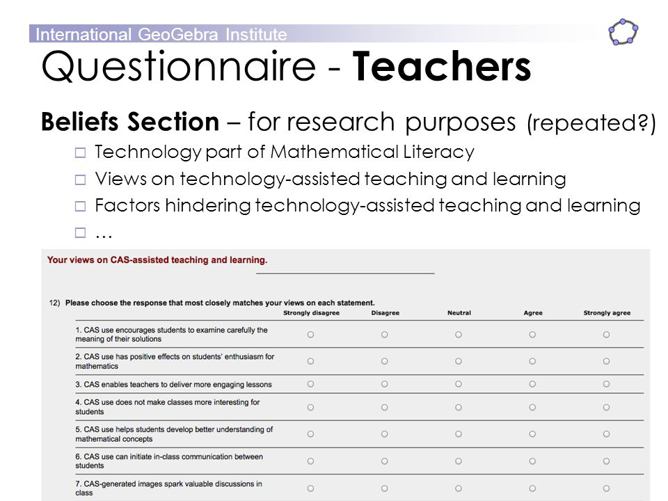 Questionnaire - Teachers