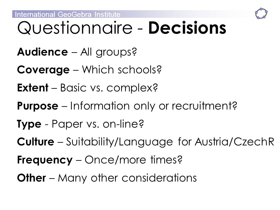 Questionnaire - Decisions