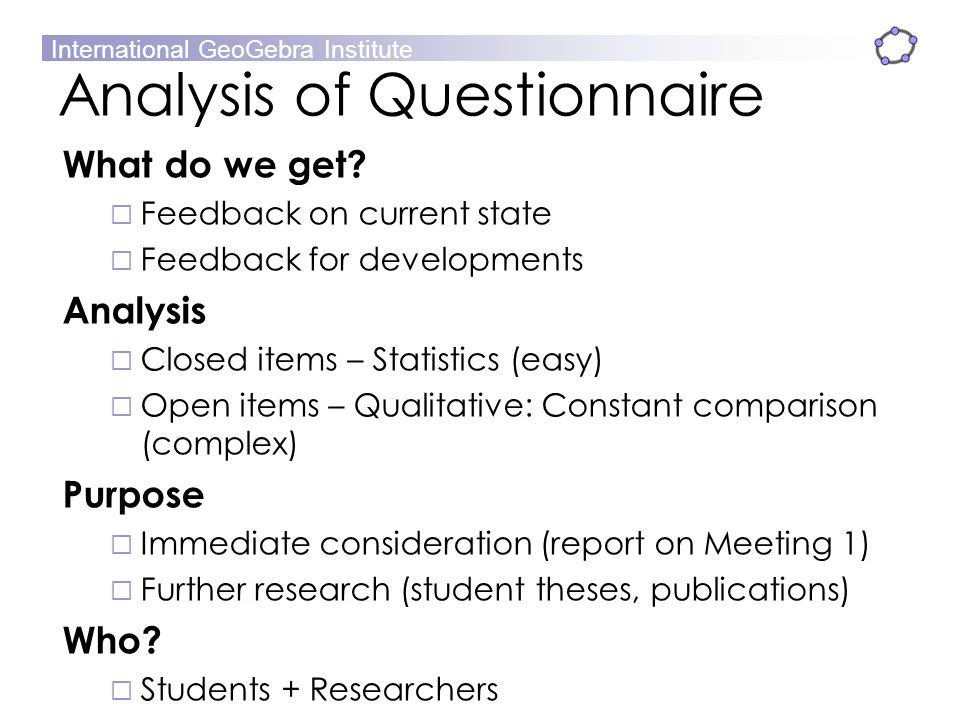 Analysis of Questionnaire