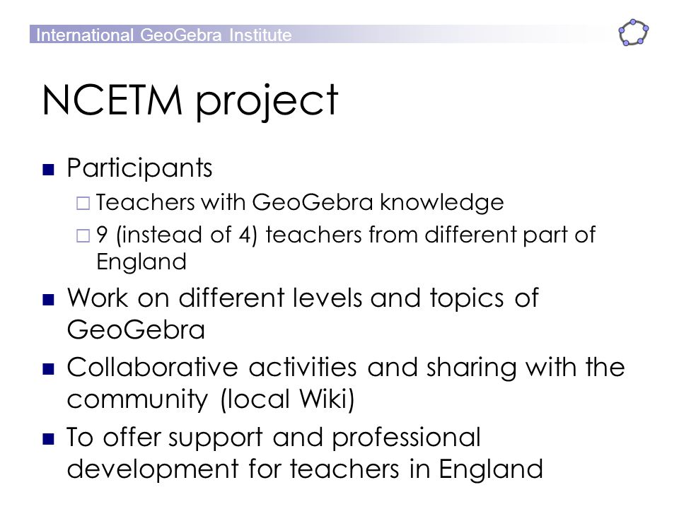 NCETM project Participants