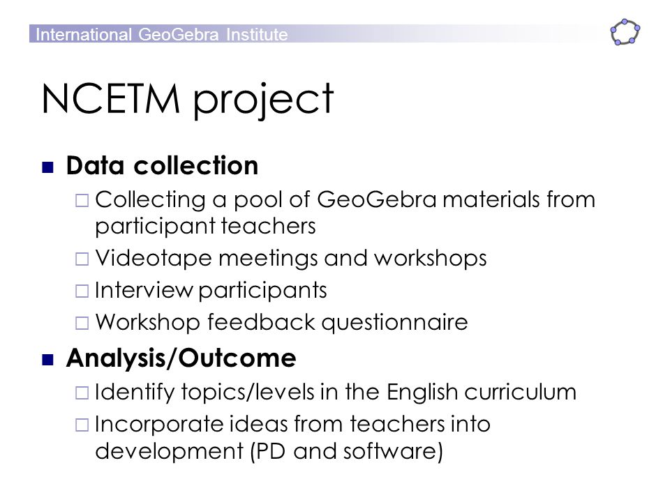 NCETM project Data collection Analysis/Outcome