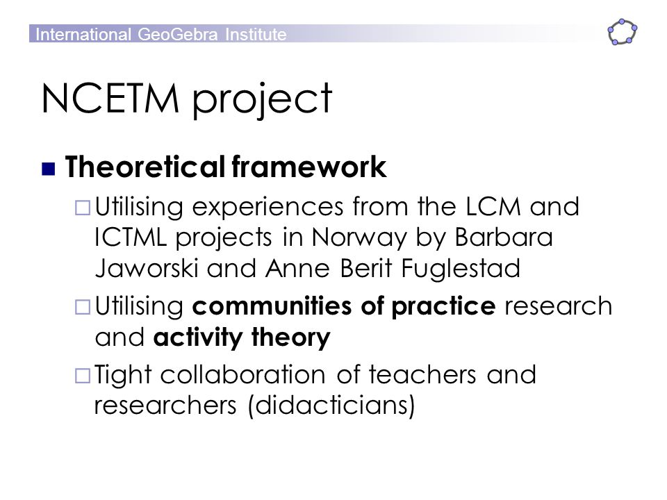 NCETM project Theoretical framework