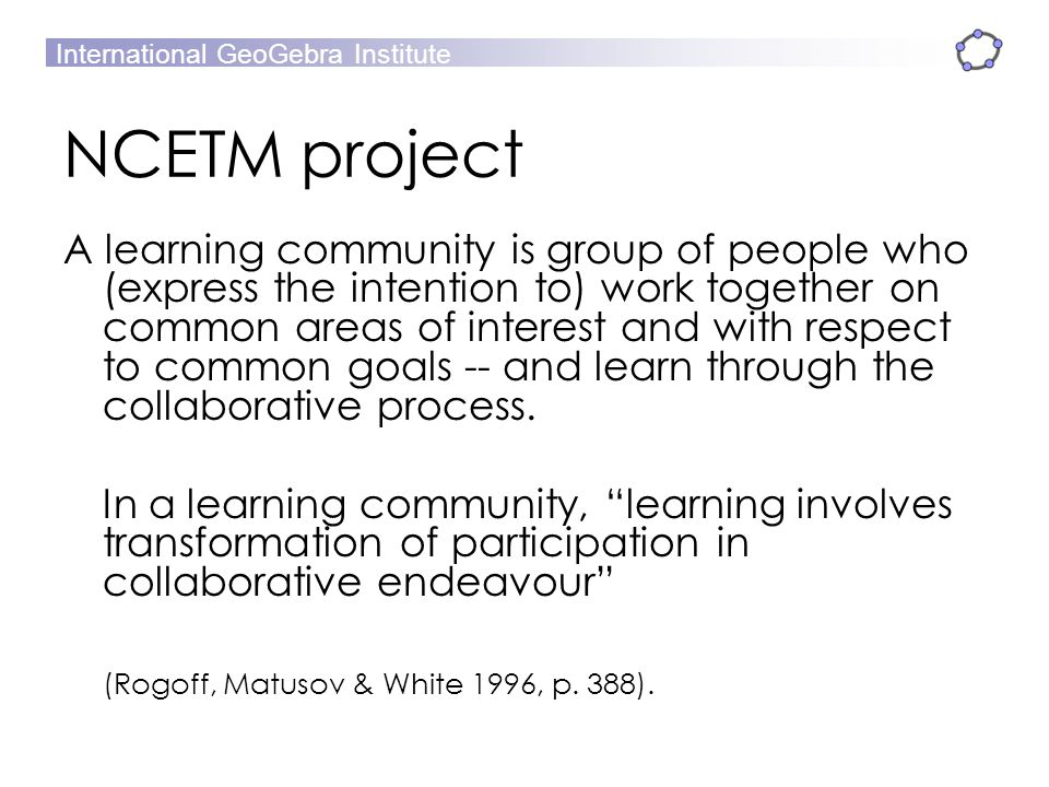 NCETM project