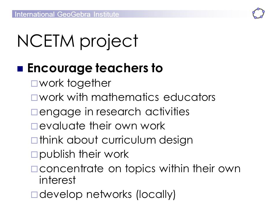 NCETM project Encourage teachers to work together
