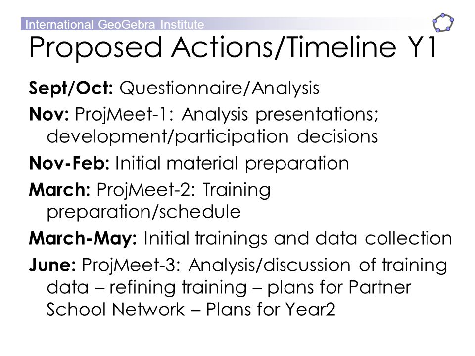 Proposed Actions/Timeline Y1