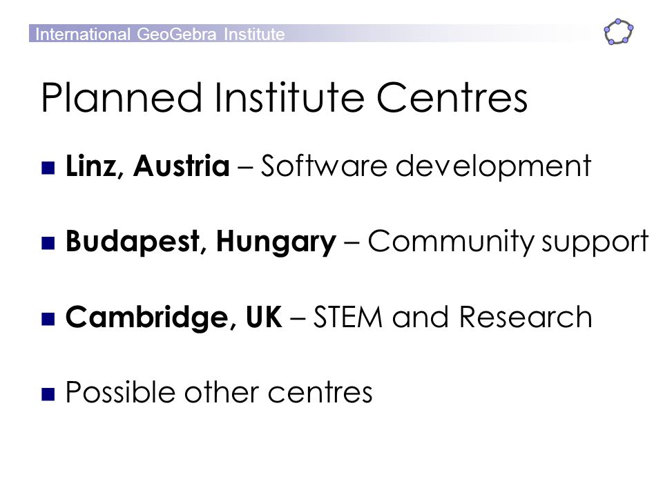 Planned Institute Centres